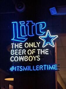 "Miller Lite Time Dallas Cowboys Neon Light Sign 24""x20"" Beer Bar Decor Lamp"