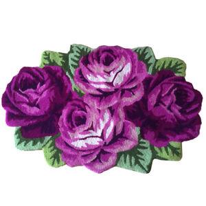 3D Handmade Rose Flower Carpet Non Slip Area Rug Bedroom Living Room Floor Mat