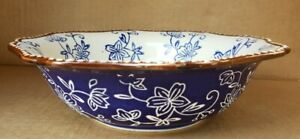 """(3) TEMP-TATIONS by Tara Floral Lace Blue 7.5"""" Soup Cereal Bowls PPP-JN-843205"""