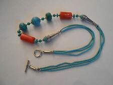 Koralle, Türkis Edelsteinkette Halskette Kette Collier Gute Handarbeit