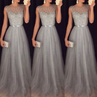 Women Formal Wedding Bridesmaid Long Evening Party Ball Prom Cocktail Dress UK
