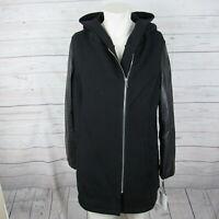 Calvin Klein 2X Jacket Womens Black Mixed Media Moto Zip Up MSRP $229