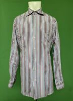 Peter Millar Tailored Fit Mens Multicolor Striped Dress Shirt Large
