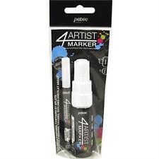 Pebeo 4Artist Marker Oil Based Permanent Paint Pen -Twin Pack 2mm + 8mm White
