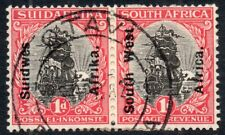 1926 South West Africa Sg 42 1d black and carmine Pair with Otavi Cancellation