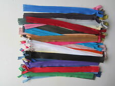 """40 ASSORTED INVISIBLE CONCEALED NYLON CLOSED ENDED 10"""" ZIP ZIPS ZIPPER ZIPPERS"""