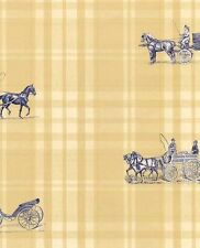 Wallpaper Blue Horse & Carriage On Yellow Plaid