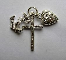 Sterling Silver Large Faith, Hope and Charity Charm