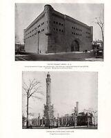 1898 Estampado Chicago ~ The First Regiment Armory ~ Main Agua Obras North Lado