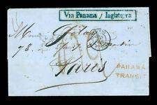 "CHILE 1855 SHIPMAIL British P.O. VALPARAISO to PARIS ""PANAMA TRANSIT"" & other mk"