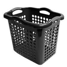 Laundry Basket Hamper Clothes Storage Hybrid Plastic Black Household 2 Bushel