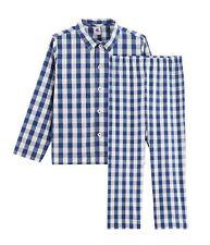 PETIT BATEAU Jungen Schlafanzug Pyjama Twill kariert blau weiß Retro 98 -146
