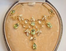 Antique Victorian 15ct Gold Peridot & Pearl set Drop Necklace c1895 in Case
