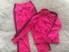 Adidas Track Suit Pink Magenta Trefoil Logo 3 Stripe Zip Jr M
