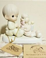 New PRECIOUS MOMENTS Porcelain Figurine CHRISTMAS TREE Popcorn Brother Father