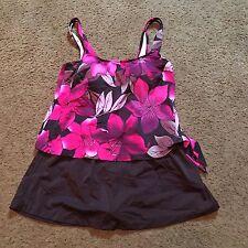Maxine One Piece Bathing Suit Size 16 Skirt Floral Swim Suit