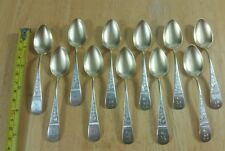 12ANTIQUE 1800s WILLIAM FABER AND SONS STERLING WITH GOLD WASH DEMITASSE SPOONS