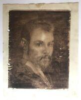 Portrait junger Mann mit Bart um 1900 Jugendstil Aquarell Tusche Art-Nouveau