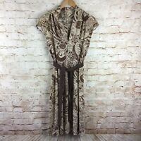 Eva Franco Womens Brown Tan Floral Cap Sleeve Belted Dress Size 8