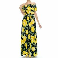 Janette Fashion Off Shoulder Navy Blue Yellow Floral Long Maxi Dress S M L