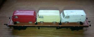 Triang Hornby R563 Bogie Bolster Wagon with 3 Ford 15cwt Vans, OO Gauge, Rare