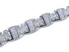 14k White Gold Princess Cut Invisible Setting 15.00ct White Diamond Bracelet