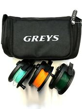 3 x SKP  Fly Fishing Reel & 3 Lines Fitted Float Inter Sink 8 Greys Reel case