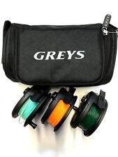 3 x Cobra Fly Fishing Reel & 3 Lines Fitted Float Inter Sink 8 Greys Reel case
