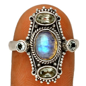 Rainbow Moonstone - India 925 Silver Ring Jewelry s.8 BR39750 296G