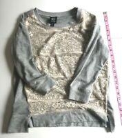 Bobeau Women's 3/4 Sleeve Gray Sweat Cream Lace Accent Shirt Top Size Small