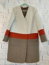 Tory Burch Color Block Wool Coat Size 8 Midi/Long Jacket Snap Buttons MSRP $789