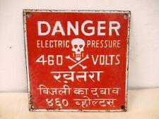 Antique Danger Warning Porcelain Sign Skull And Crossbones 460 Volts Electric*12