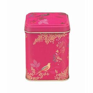 Sara Miller Pink Birds Small Square Storage Tin 7x7x9