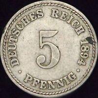 1894-A Fine Germany 5 Pfennig - KM# 11