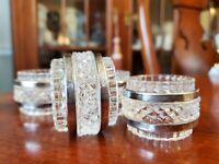 Vintage Crystal Napkin Holders with Double Silver Plated Rings Set of 4