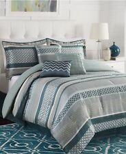 Linear 7 Piece Queen Jacquard Comforter Set Bedding