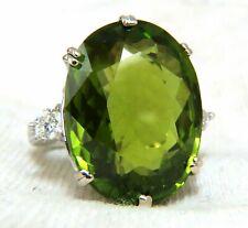 GIA Zertifiziert 35.63ct Natürliches Grün Peridot Diamanten Ringe 18