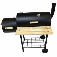 REBOXED Large Charcoal BBQ Grill Smoker Barrel Barbecue Temperature Gauge Black