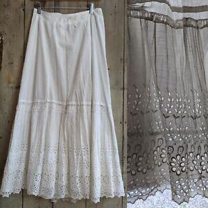Antique Victorian Edwardian Cotton White 1900s Petticoat w Embroidered Eyelet 26