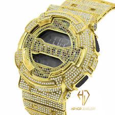 Men's Women's Custom Full icy Gold Tone GD-100 G Shock Rainbow Simulated Diamond