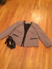 TAHARI Purple black and white tweed jacket size 18 W