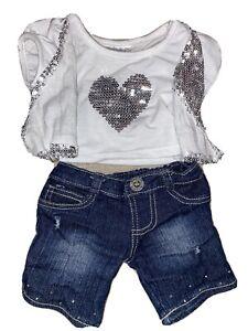 Build a Bear Denim Pants w/White Shirt w/Silver Sequin Heart & Vest - EUC