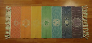 Rainbow Chakra Mandala Floor Rug/Carpet/Mat Tassles Thick Woven Cotton 130x60cm