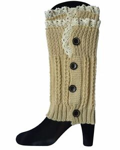 Women's Lace Button Trim Leg Warmers Winter Crochet Knit Boot Socks Cuffs Topper