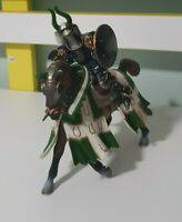 Schleich Medieval Knight and Horse Figurine Model GREEN WITH GOLD HORSE SHOES 05