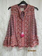 SEA NY New York top UK 10 / US 6 rose pink silk-chiffon sleeveless Boho