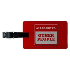 Allergic to Other People Funny Humor Rectangle Leather Luggage Card ID Tag