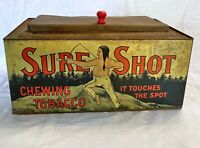 Sure Shot Chewing Tobacco Rare Antique Store Advertising Display Tin