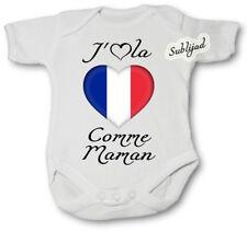 Body bébé personnalise J aime la France Comme Maman Manche Courte ou Longue