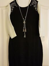 New By & By Black/White Sweater Dress  Size L  Necklace Sold Separately
